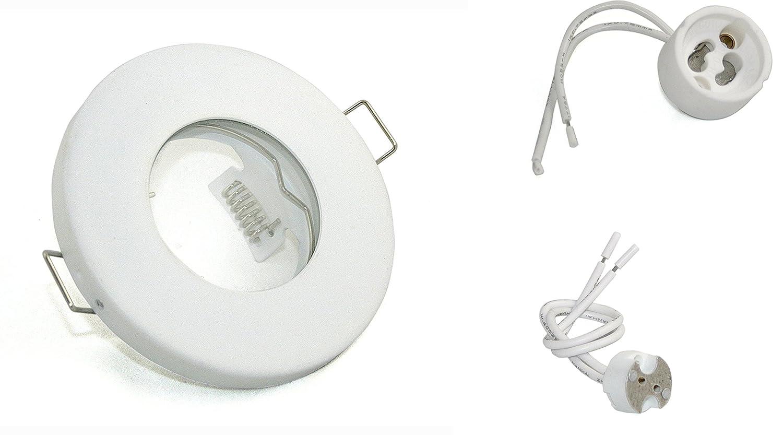 ***Sonderpreis*** Einbaustrahler IP65 Optik: Weiss Bad | Dusche | Sauna | inkl. GU10 Fassung 230Volt + MR16 GU5.3 Fassung 12Volt | Einbauleuchten weiss lackiert - rostfrei [Energieklasse A++] LED Line