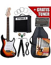 Rocktile ST-Pack Komplettset E-Gitarre Sunburst (Verstärker, Stimmgerät, Tremolo, Tasche, Kabel, Gurt, Plecs, Ersatzsaiten und Schule mit CD/DVD)