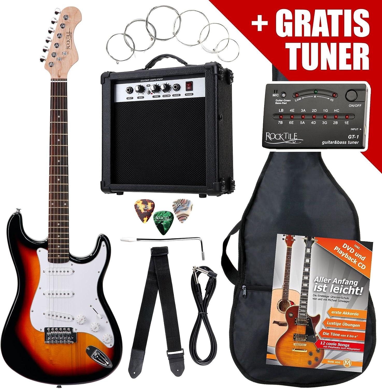 Rocktile Pack guitarra eléctrica ST sunburst (incl. ampli, funda ...