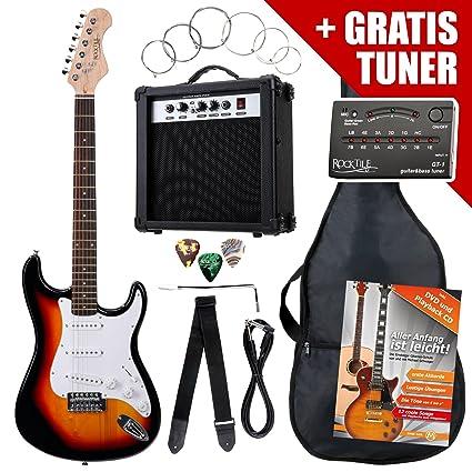 Rocktile Pack guitarra eléctrica ST sunburst (incl. ampli, funda, afinador, cable