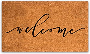 """Coco Coir Door Mat with Heavy Duty Backing, Welcome Doormat, 17""""x30"""" Size, Easy to Clean Entry Mat, Beautiful Color and Sizing for Outdoor and Indoor uses, Home Decor"""