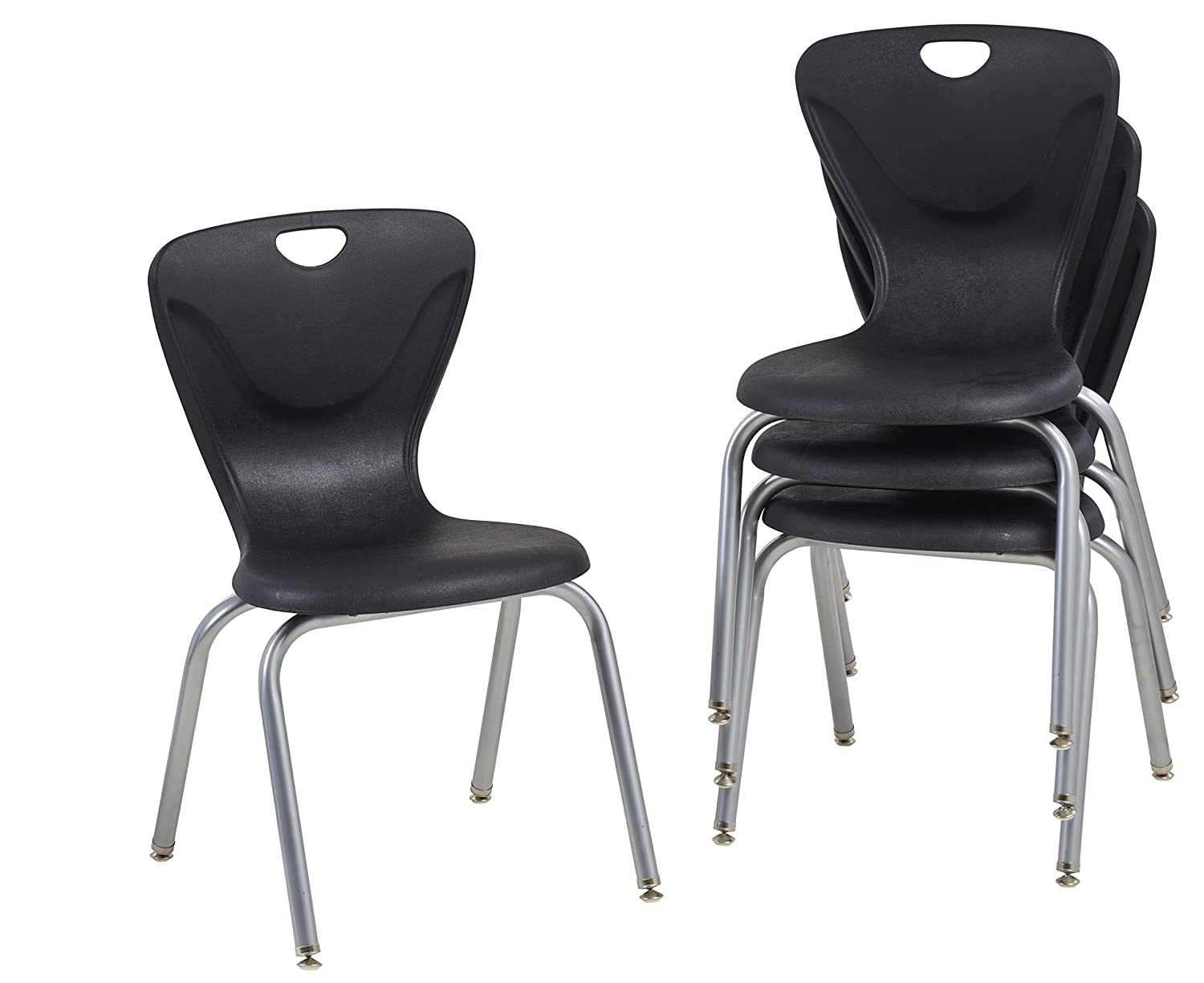 """FDP 18"""" Contour School Stacking Student Chair, Ergonomic Molded Seat Shell with Powder Coated Silver Frame and Swivel Leg Glides; for in-Home Learning, Classroom or Office - Black (4-Pack): Industrial & Scientific"""