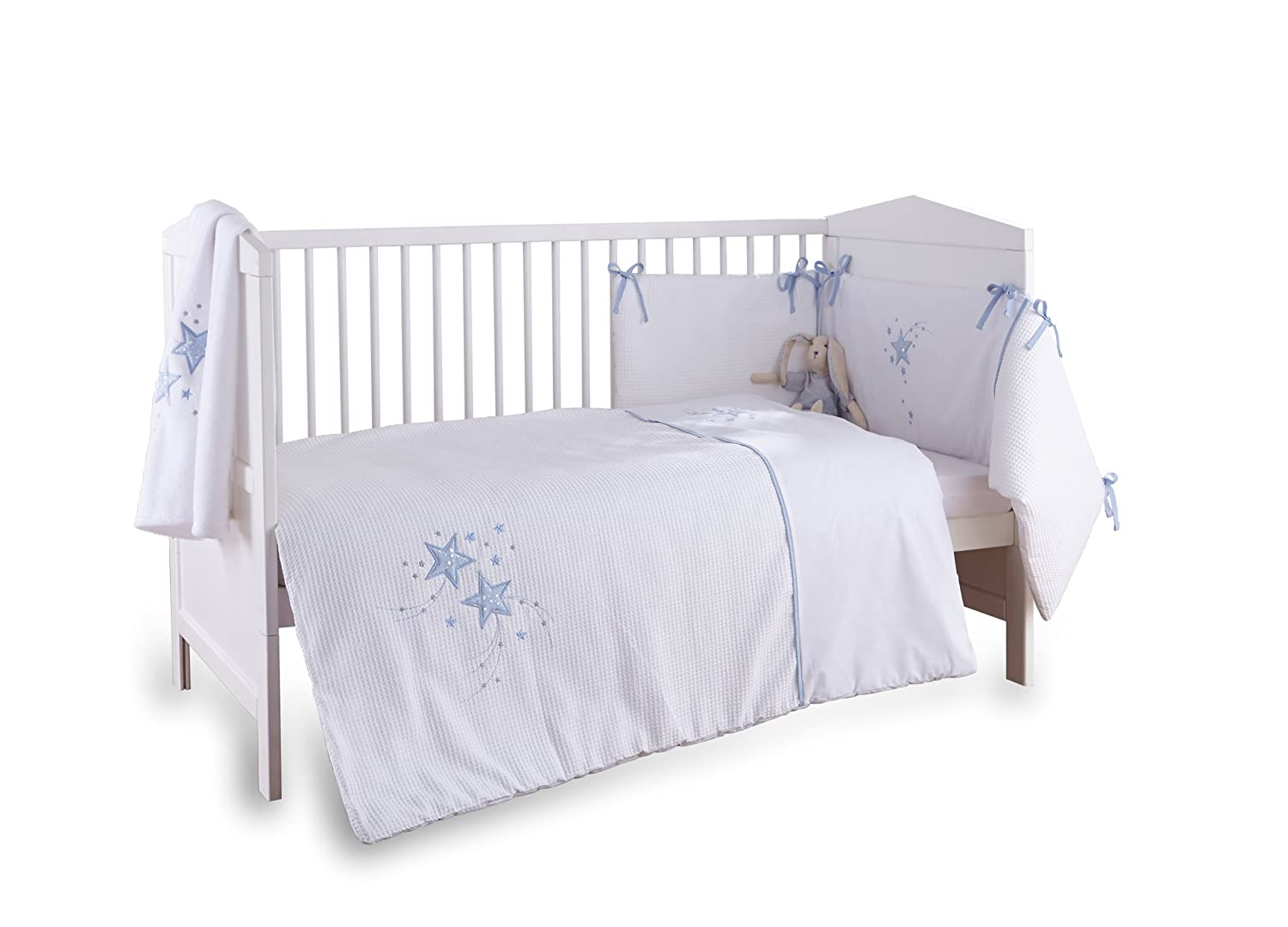 Clair de Lune 3-Piece Blue Stardust Cot/Cot Bed Quilt, Bumper and Fitted Sheet Bedding Set CL4815B