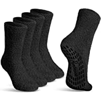 Pembrook Non Skid/Slip Socks - Fuzzy Slipper Hospital Socks (4 - Packs) - Great for adults, men, women.