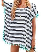 Chalier Womens Striped Swimwear Cover ups Bikini Swim Beachwear Swimsuit Cover Up
