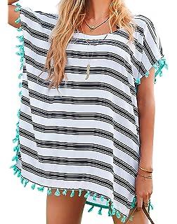 470e0753a3 Chalier Womens Striped Chiffon Swimwear Bikini Swim Beachwear Swimsuit  Cover up