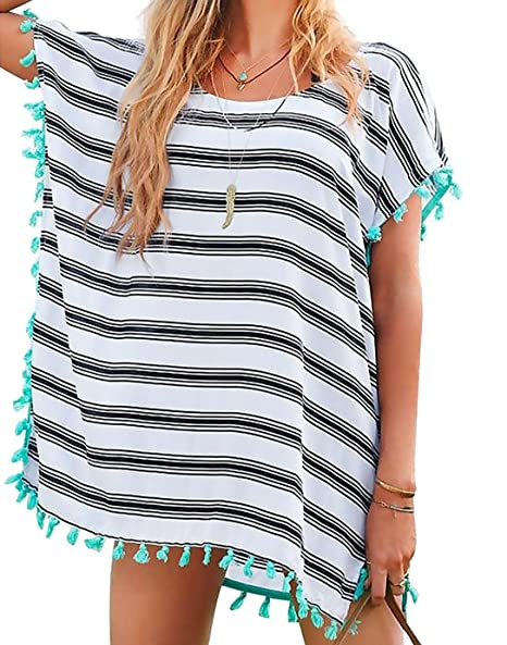 1a9cfc233f Chalier Womens Striped Chiffon Swimwear Bikini Swim Beachwear Swimsuit  Cover up