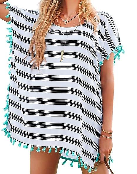 1996bd6358 Chalier Womens Striped Chiffon Swimwear Bikini Swim Beachwear Swimsuit  Cover up,A-white Stripe