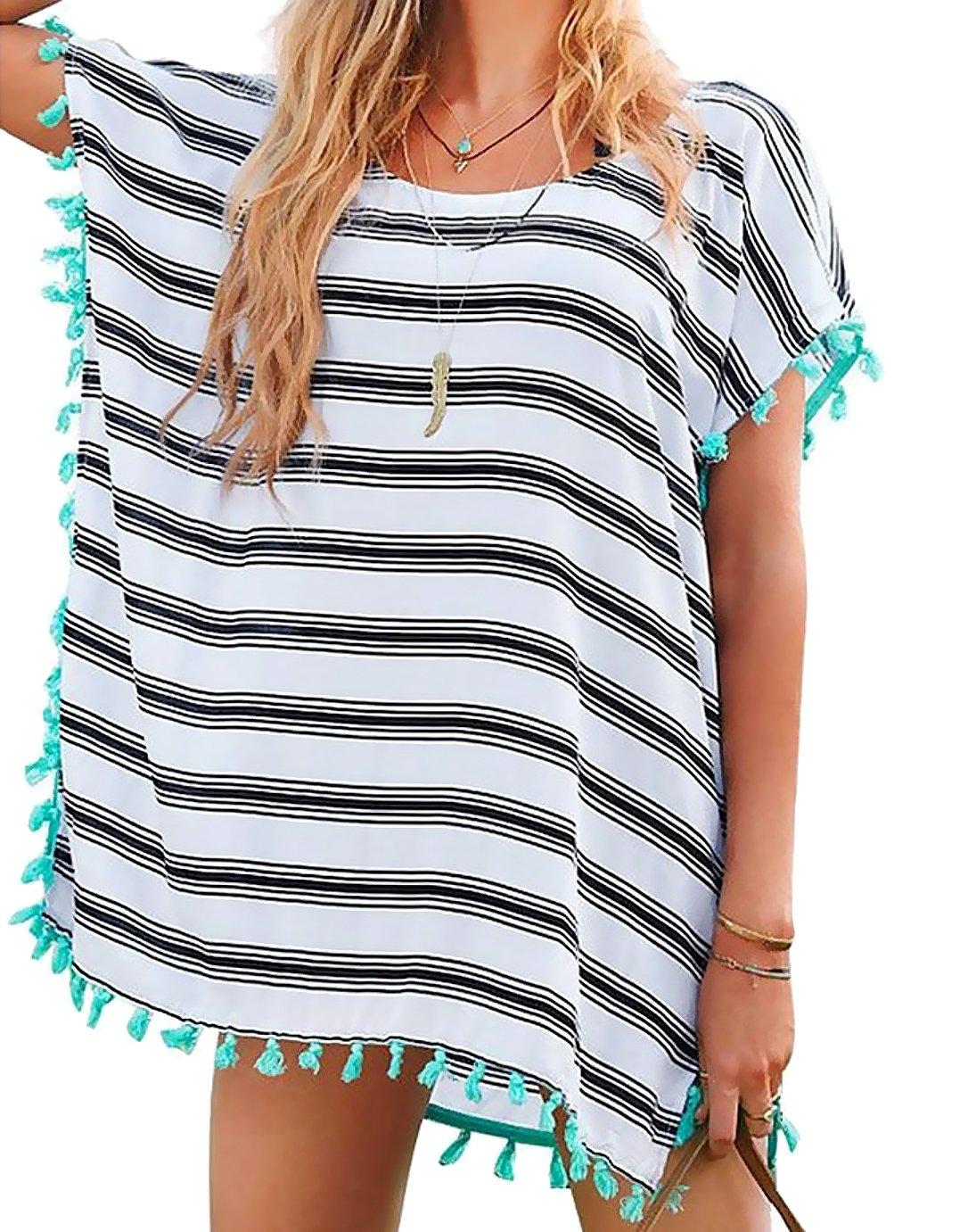 Chalier Womens Striped Chiffon Swimwear Bikini Swim Beachwear Swimsuit Cover up,A-white Stripe,One Size