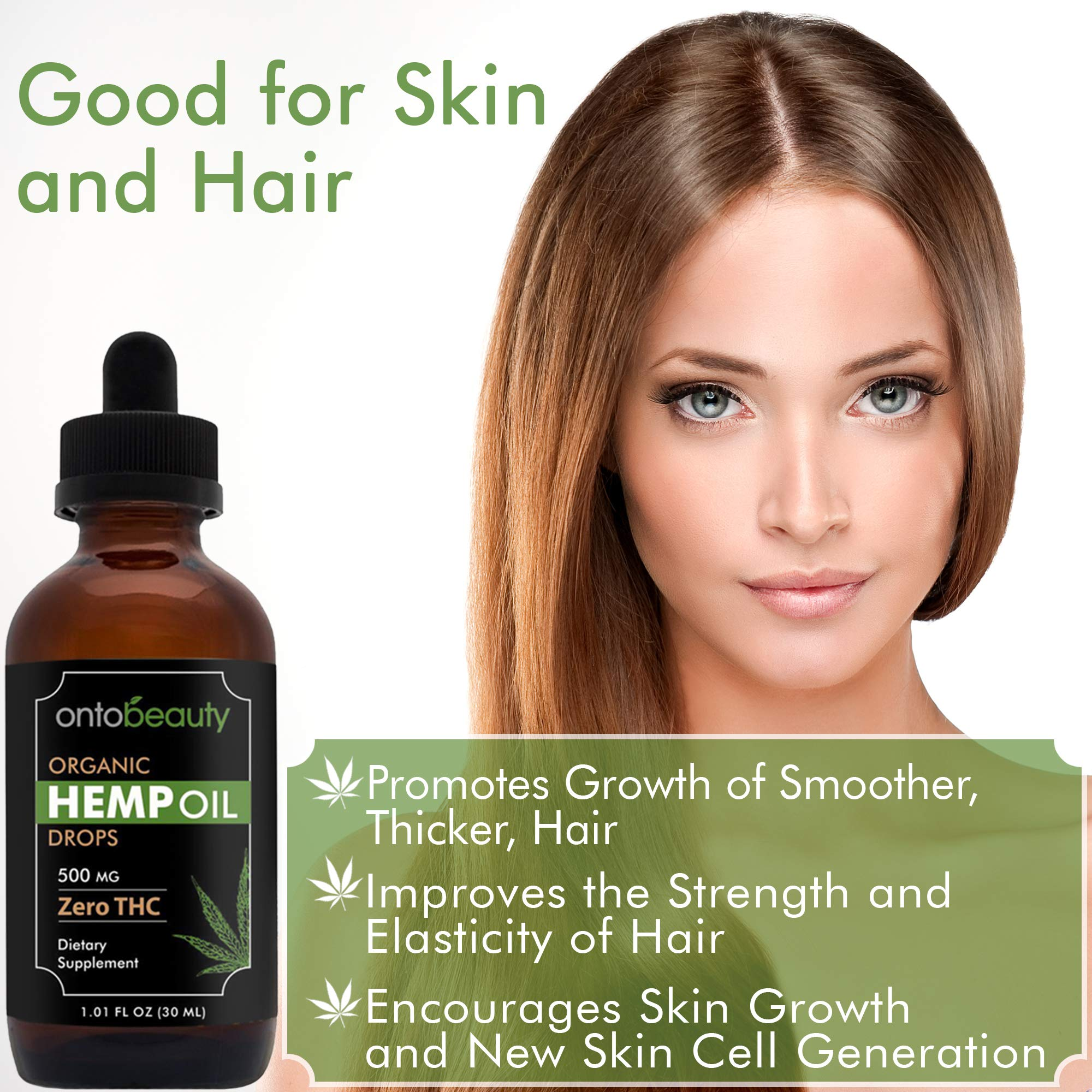 Hemp Oil Drops 500 Mg, Anti Anxiety Support, Reduces Stress and Pain, Improves Sleep, Mood, Good for Skin and Hair, Improves Overall Health