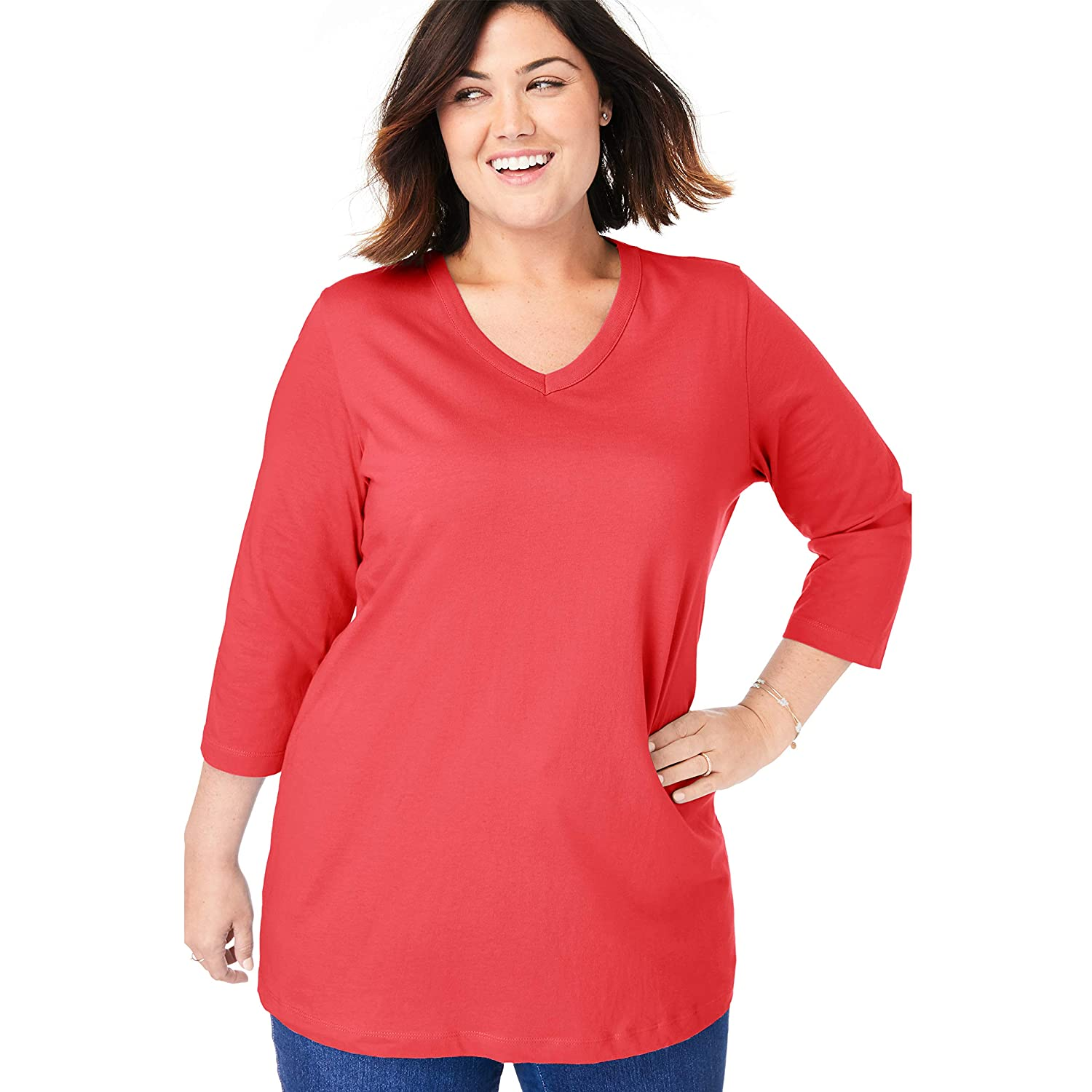Woman Within Womens Plus Size Perfect V-Neck Three-Quarter Sleeve Tee