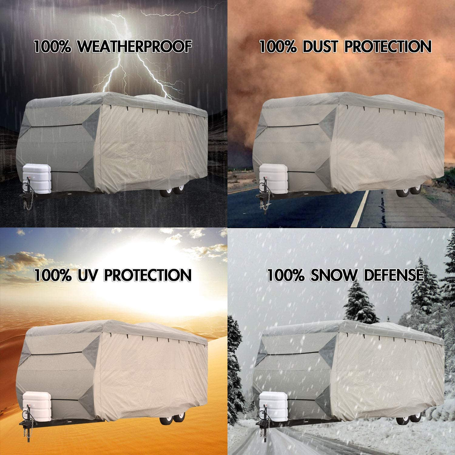 Waterproof Superior RV Motorhome Travel Trailer//Toy Hauler Cover Fits Length 20-22 Travel Trailer Camper Zippered Panels Allow Access To The Door Engine Side Storage Areas and Ramp Door