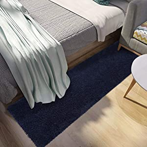 Area Rug|COSY HOMEER Super Soft Indoor Bathroom Runner Bath Mat Non Slip,Machine Washable Accent Fur Rugs for Living Room Decor Dining Floor 27x72 Inch(Navy Blue)