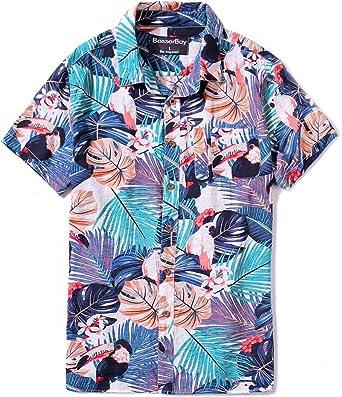 BesserBay Camisa hawaiana con botones para hombre, estilo casual, de ajuste estándar, Aloha, Azul claro | Hojas florales / pájaros, S: Amazon.es: Ropa y accesorios