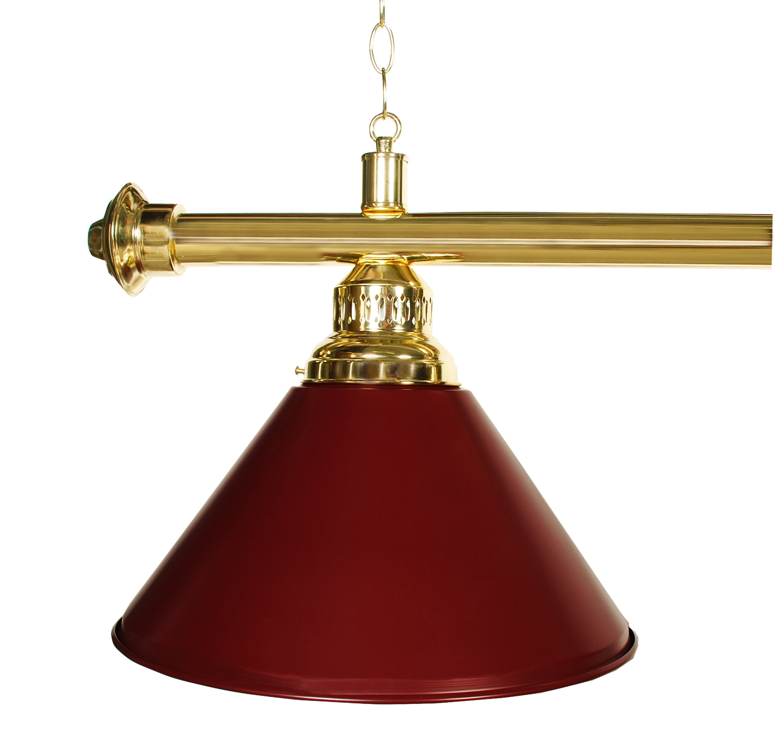 61'' Pool Table Light - Billiard Lamp Brass Rod Choose Burgandy, Green or Black Metal Shades (brass burgundy) by Iszy Billiards (Image #2)
