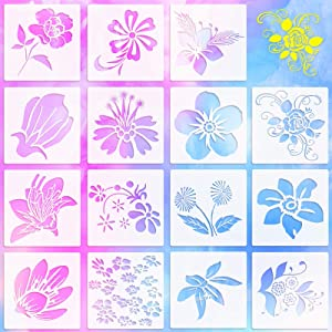 15 Pieces Spring Themed Flower Plastic Stencils Peony Flower Rose Planting Pattern Drawing Templates Stencils Reusable Craft Stencils for Painting on Walls Canvas Wood Furniture, 6 x 6 Inch