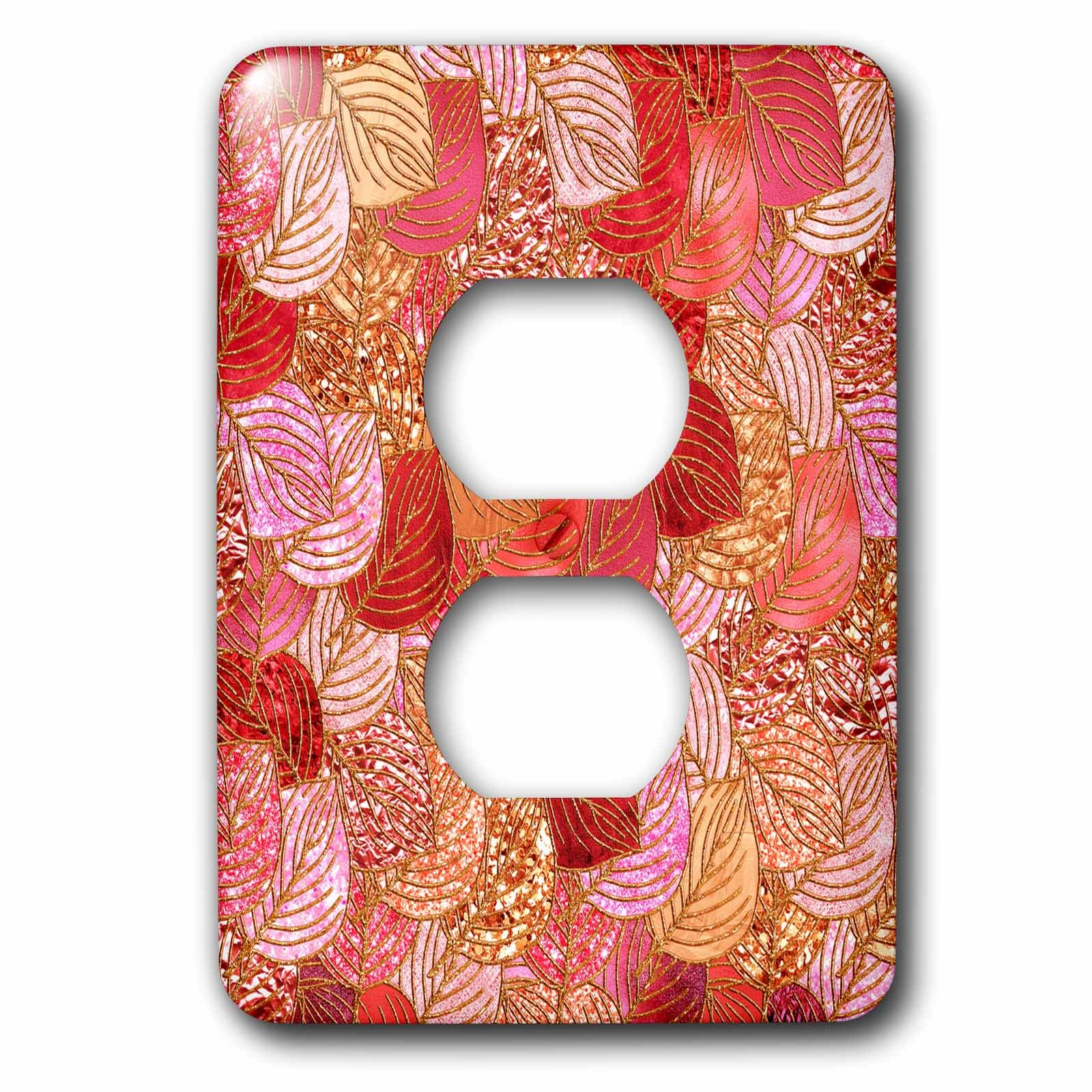 3dRose Uta Naumann Faux Glitter Pattern - Luxury Red Faux Metal Foil Glitter Autumnal Foliage Leaf Pattern - Light Switch Covers - 2 plug outlet cover (lsp_269090_6)