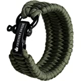 The Friendly Swede Trilobite Extra Beefy 550 lb Paracord Survival Bracelet with Stainless Steel Black Bow Shackle, Available