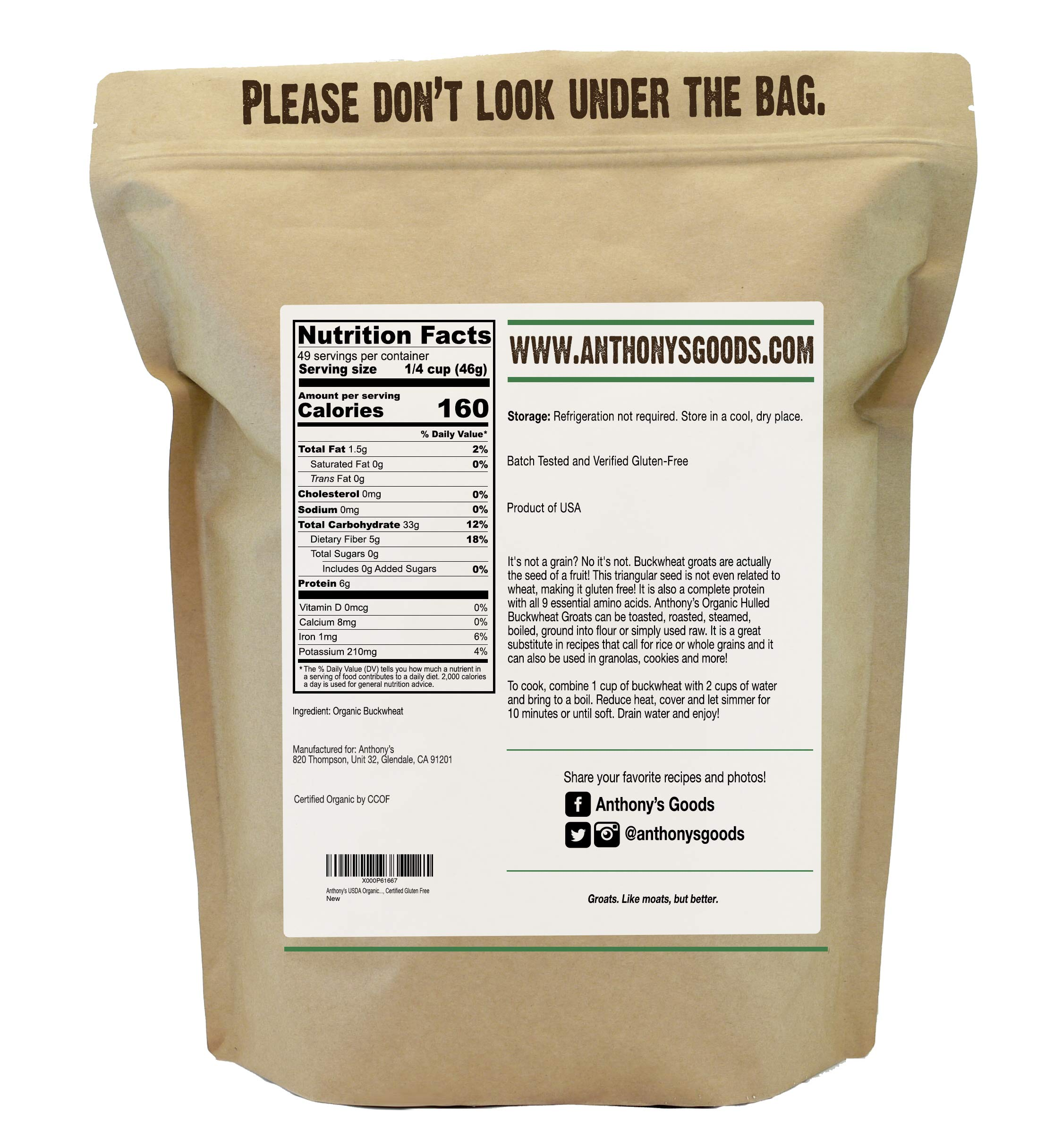 Organic Raw Hulled Buckwheat Groats (5lb) by Anthony's, Grown in USA, Gluten-Free by Anthony's (Image #3)
