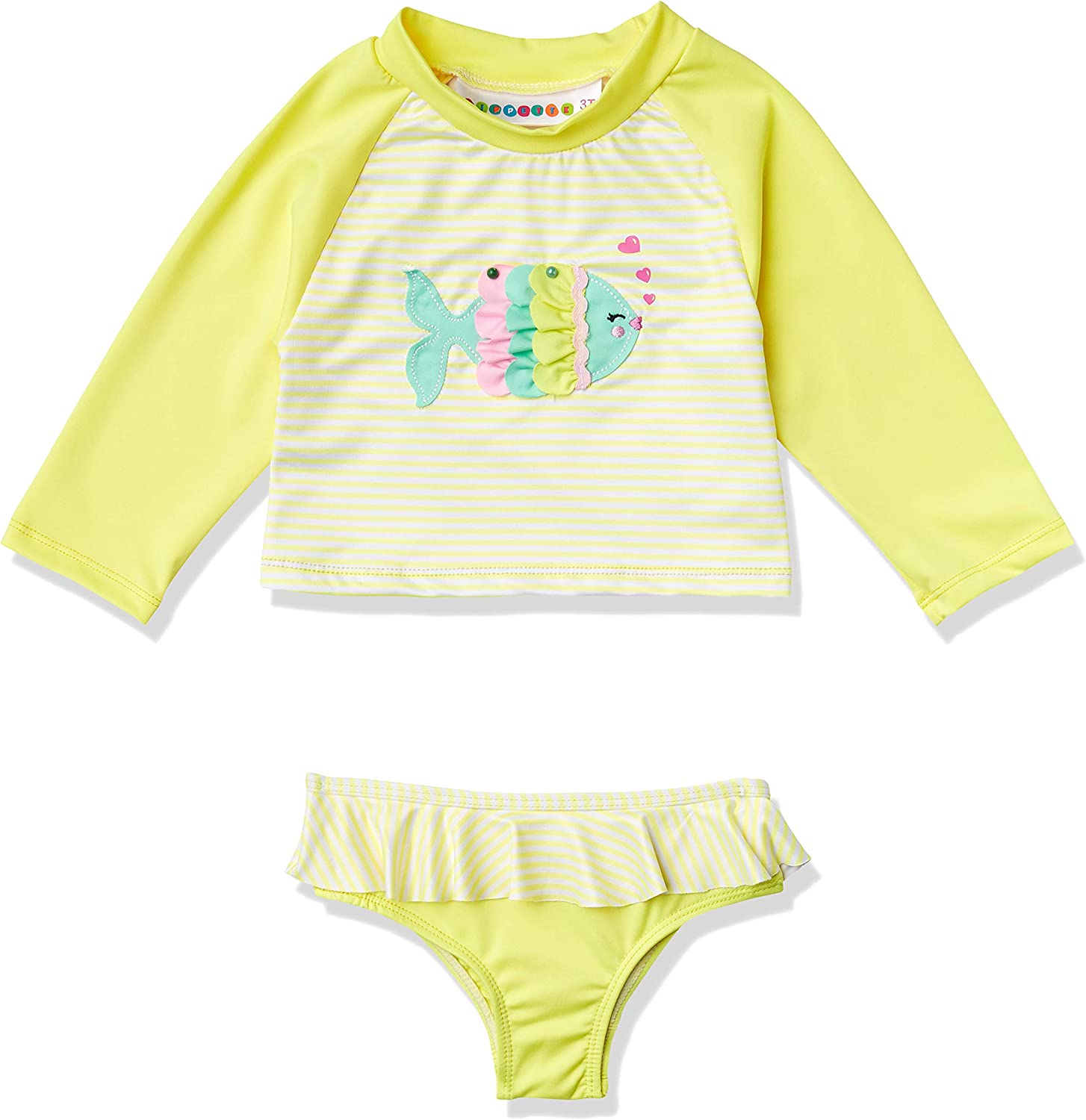 Wippette Girls Toddler Baby Two Piece Rashguard Set with Ruffle Trim