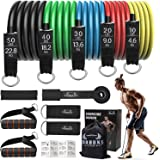 Resistance Bands Set, Including 5 Stackable Exercise Bands with Door Anchor, 5 Loop Bands, 2Ankle Straps, Carrying Case…