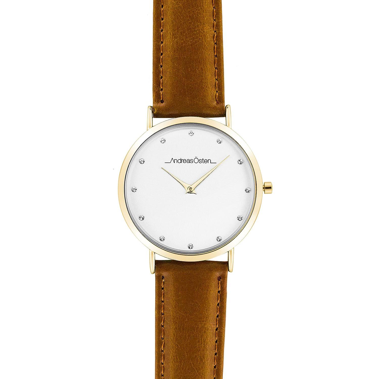 Andreas Osten (Oste) Damen Gold LÜnette braun Leder Armbanduhr A0–17