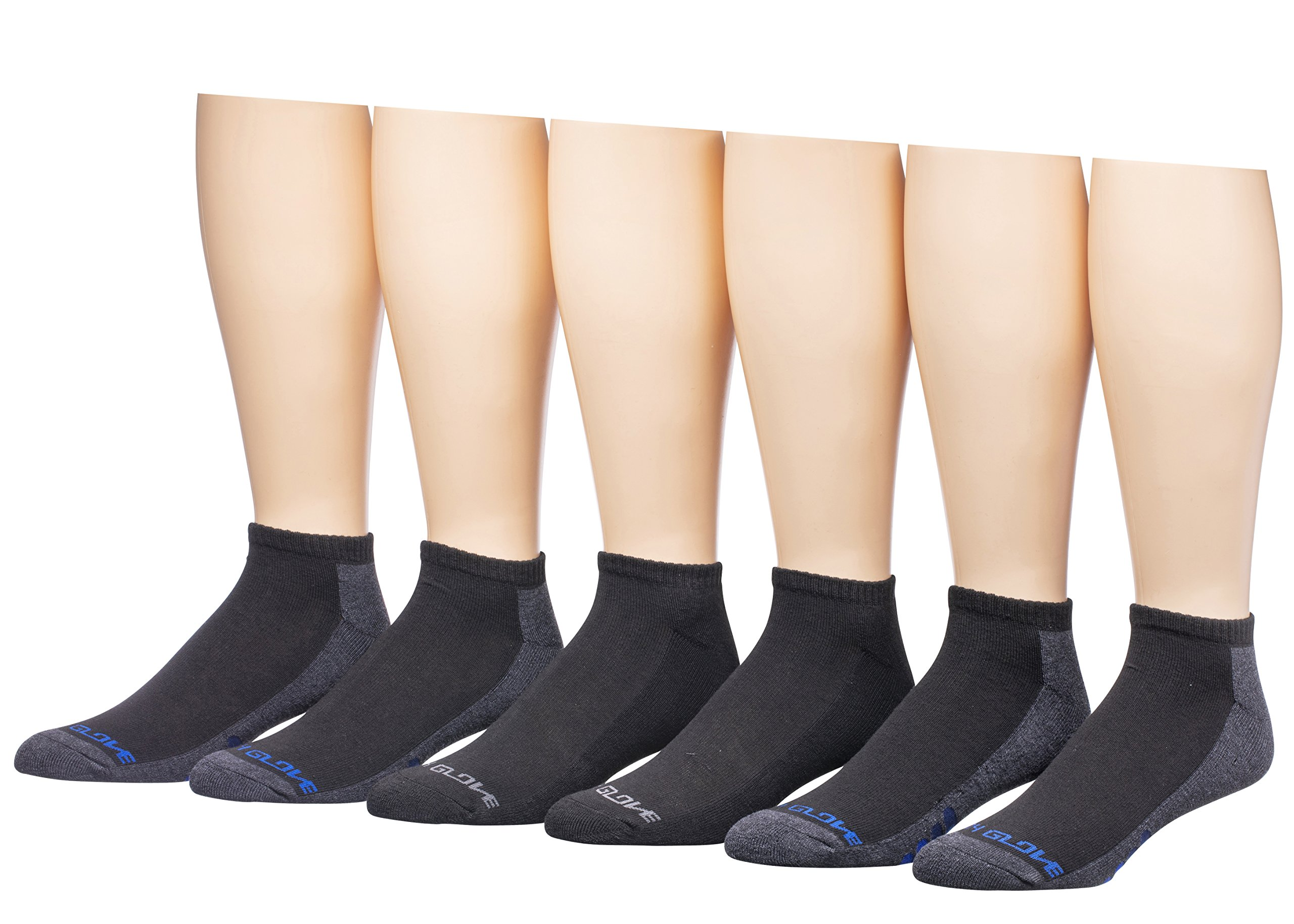 BodyGlove Men's Low Cut Socks, 6 Pack (Black with Blue/Grey)