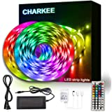 CHARKEE Led Lights for Bedroom 50ft, 2 Rolls of 25ft Led Light Strips with Remote and Power Supply for Bedroom, Room, Kitchen