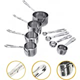 Nesting Stainless Steel Measuring Cups and Spoons, Set of 4 each (8 piece), by KUFL (Kitchen Utensils For Life)