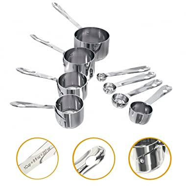 Nesting Stainless Steel Measuring Cups and Spoons, Set of 4 each (8 piece)