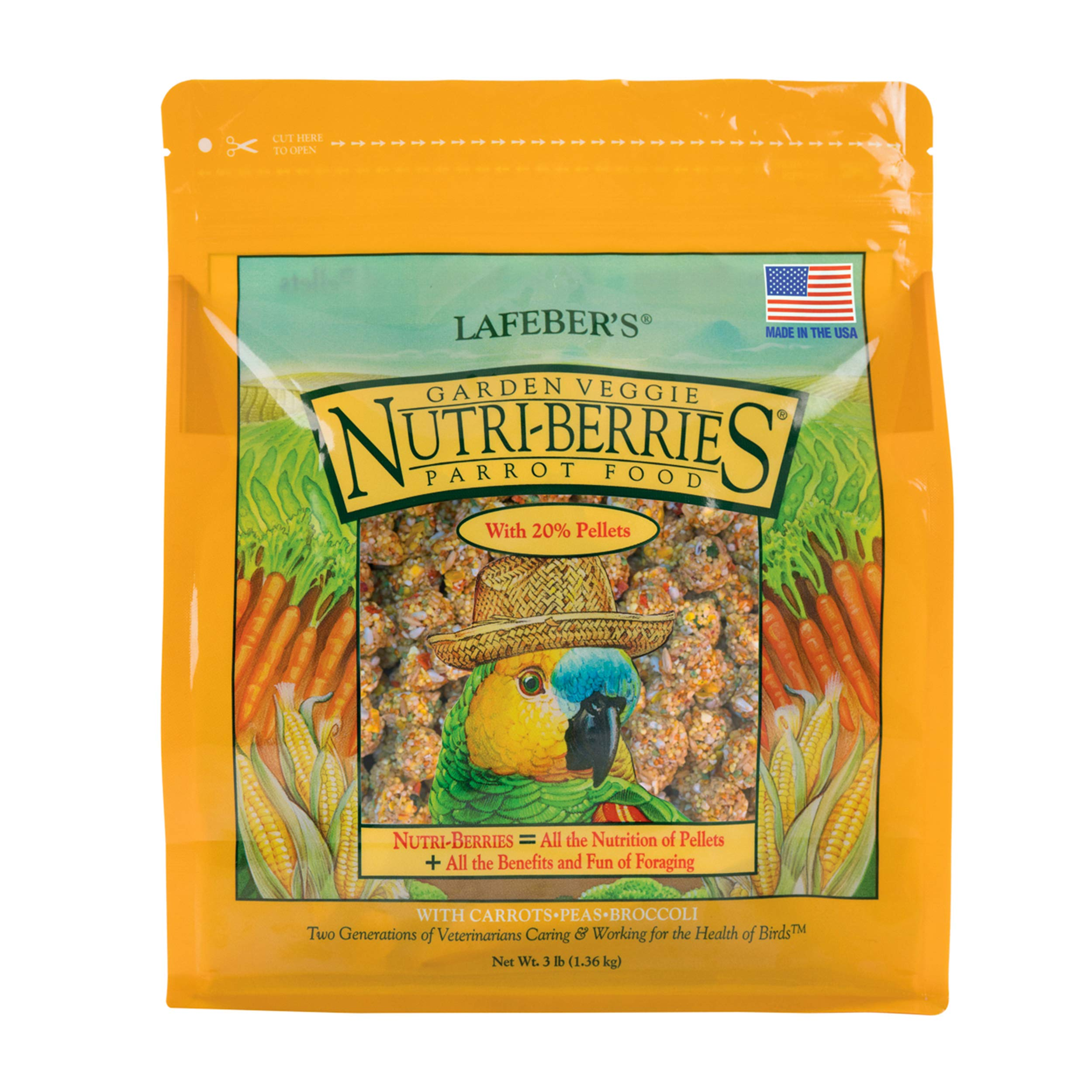 LAFEBER'S Garden Veggie Nutri-Berries Pet Bird Food, Made with Non-GMO and Human-Grade Ingredients, for Parrots, 3 lbs by LAFEBER'S