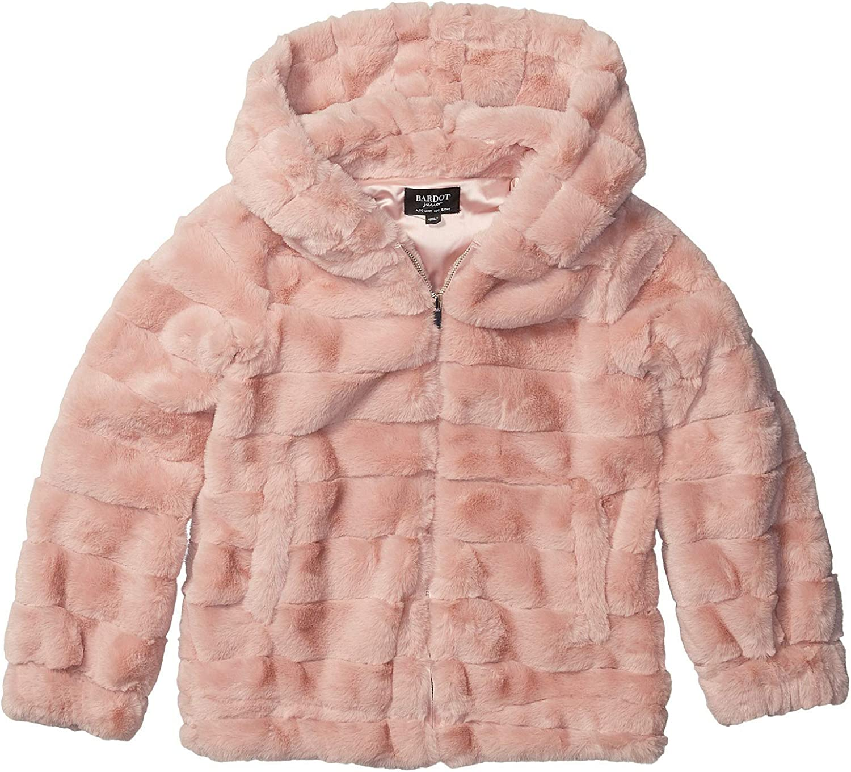 Bardot Junior Girls Stripe Faux Fur Jacket Big Kids