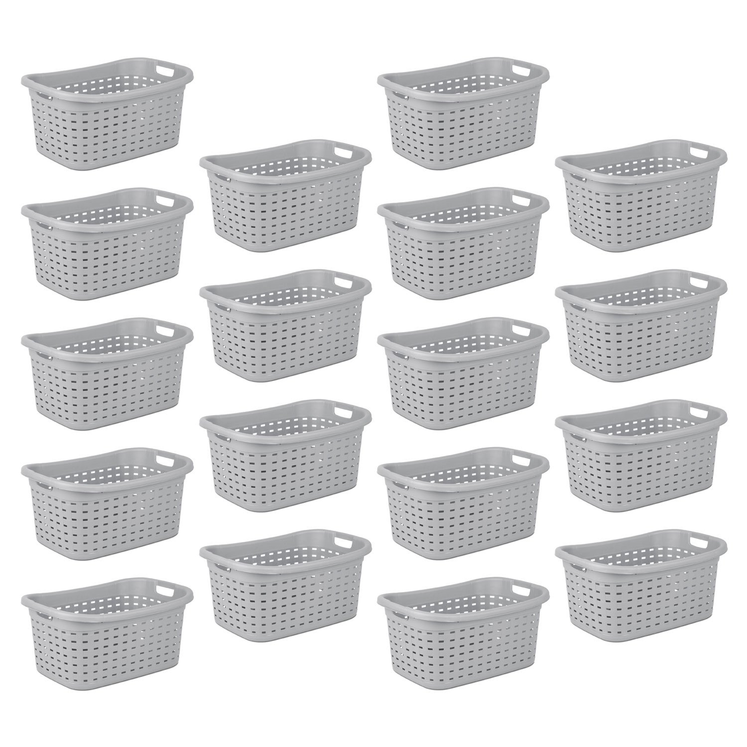 STERlLITE 12756A06 Weave Laundry Basket, Cement, 18-Baskets by STERlLITE