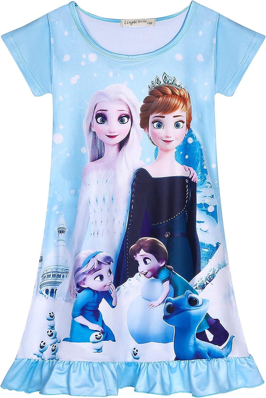 DSL Camicia da Notte da Principessa da Notte Camicia da Notte a Maniche Corte Camicia da Notte da Notte Carina 3-8Y Rosa Blu