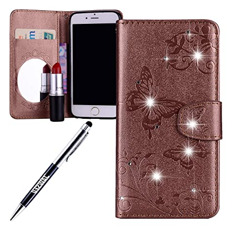 JAWSEU Carcasa iPhone 6 Plus/6S Plus, PU Cuero Fundas Bling ...