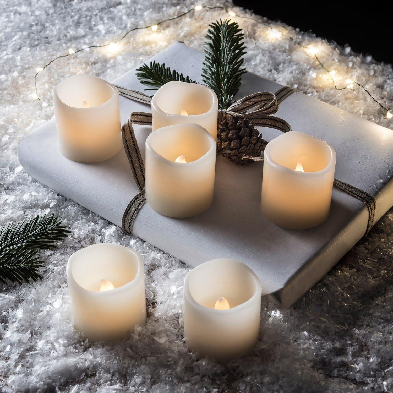 Lights4fun 6er Set LED Echtwachs Kerzen Batteriebetrieb