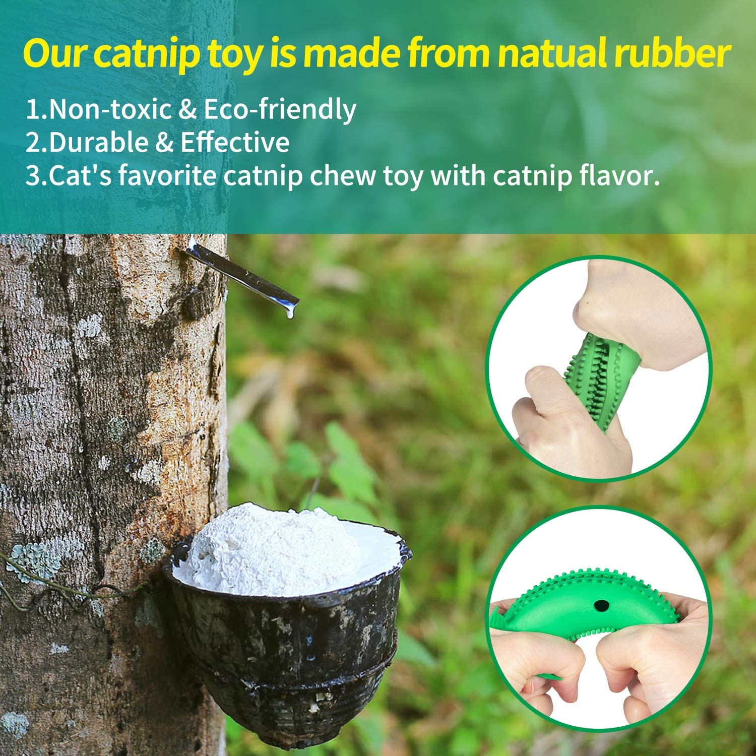 HIRALIY Catnip Toys Natural Rubber Interactive Fish Cat Toy Bite Resistance Cat Toothbrush Chew Toy Cat Teeth Cleaning Toys with Bell for Kitten Kitty