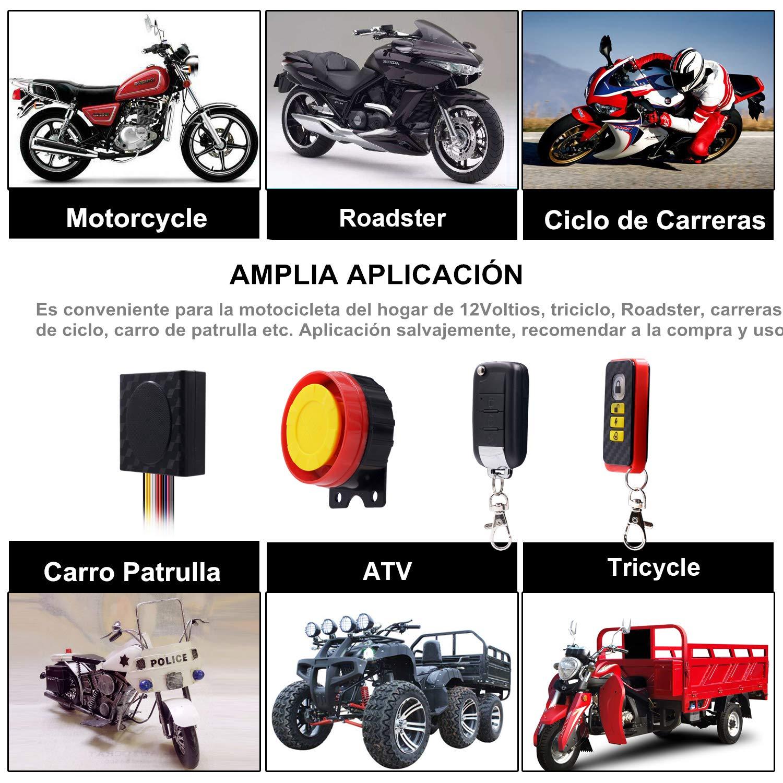 ShinePick Alarma Moto con Mando, Sistema de Alarma Antirrobo Alarma 125db para Motocicletas de 12 24 V