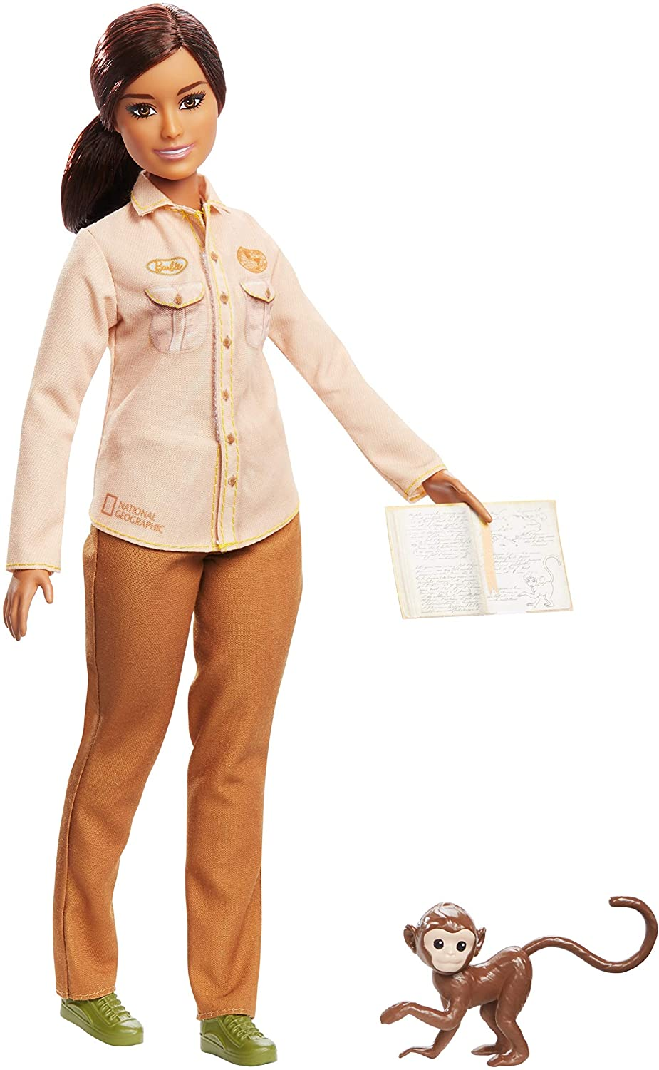 Barbie Wildlife Conservationist Doll, Brunette with Monkey and Notebook, Inspired by National Geographic for Kids 3 Years to 7 Years Old