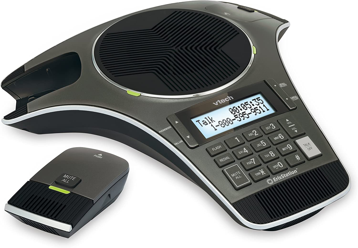 VTech VCS702 ErisStation DECT 6.0 Conference Phone with Two Wireless Mics using Orbitlink Wireless Technology