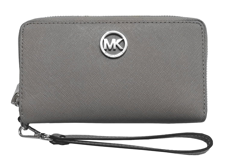 48a043e6aeef Amazon.com: Michael Kors Fulton Large Flat Multifunction Phone Case PVC  Wristlet Pearl Grey: Shoes