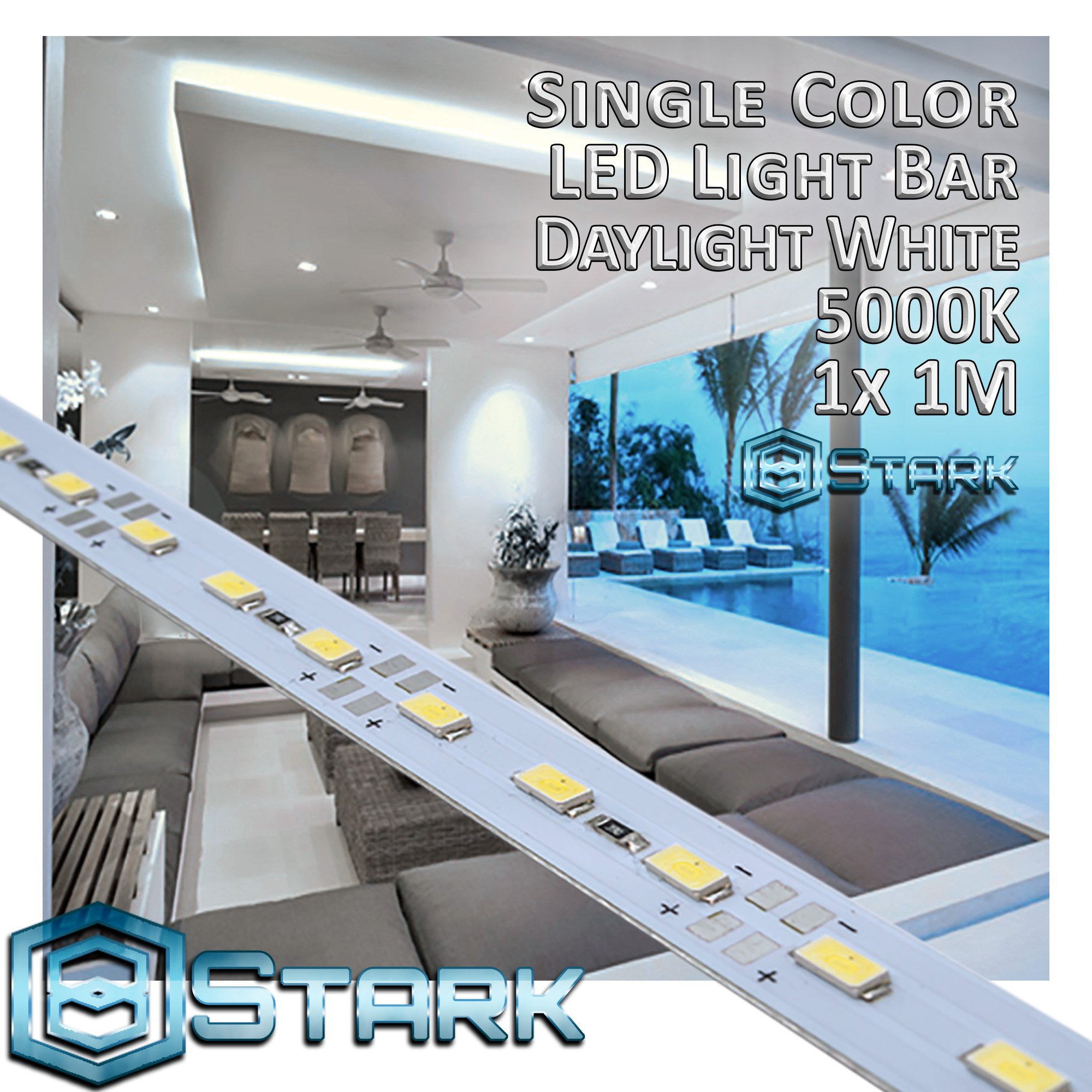 Aluminum LED Solid Strips - Interior Design Lighting - Daylight - 5000K - 1 Set (1M/3.3FT)