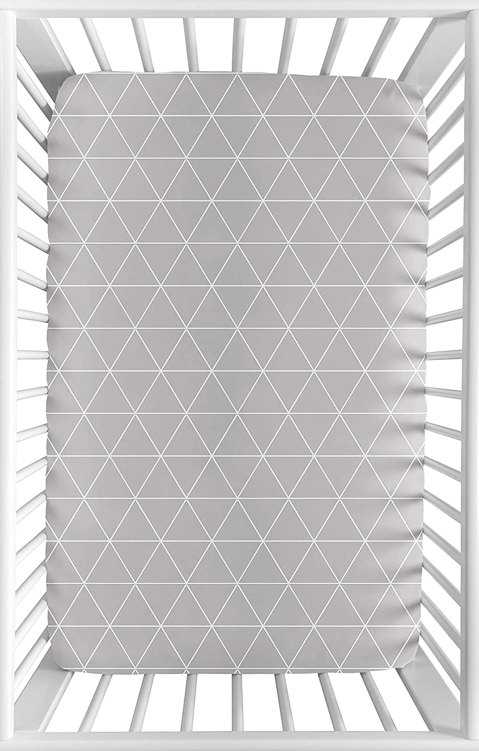 Sweet Jojo Designs Grey and White Triangle Baby Boy or Girl Unisex Fitted Mini Portable Crib Sheet for Mountains Collection - for Mini Crib or Pack and Play ONLY