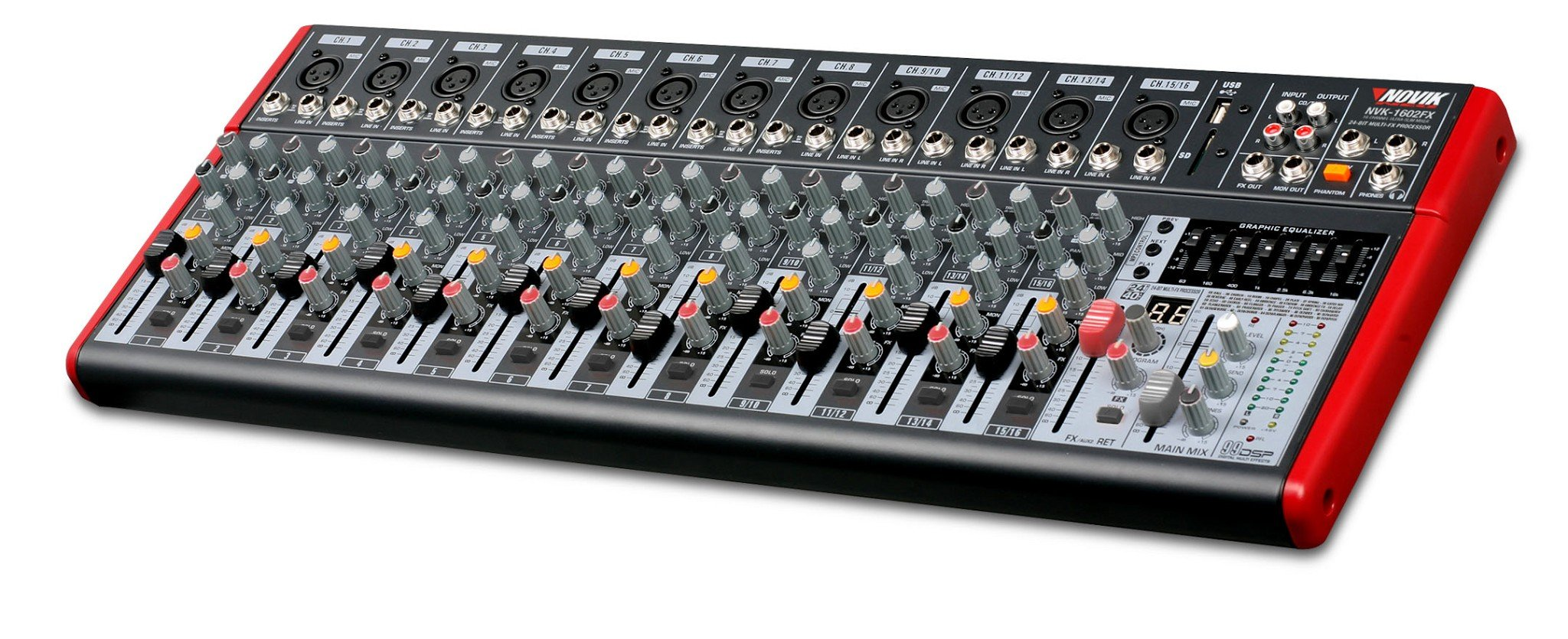 NOVIK NEO MIXER NVK 1602FX 16 Channel Ultra-Slim 12 channels with pre-amplifiers of Mic and Phantom Power (+48v) 4 channels Stereo