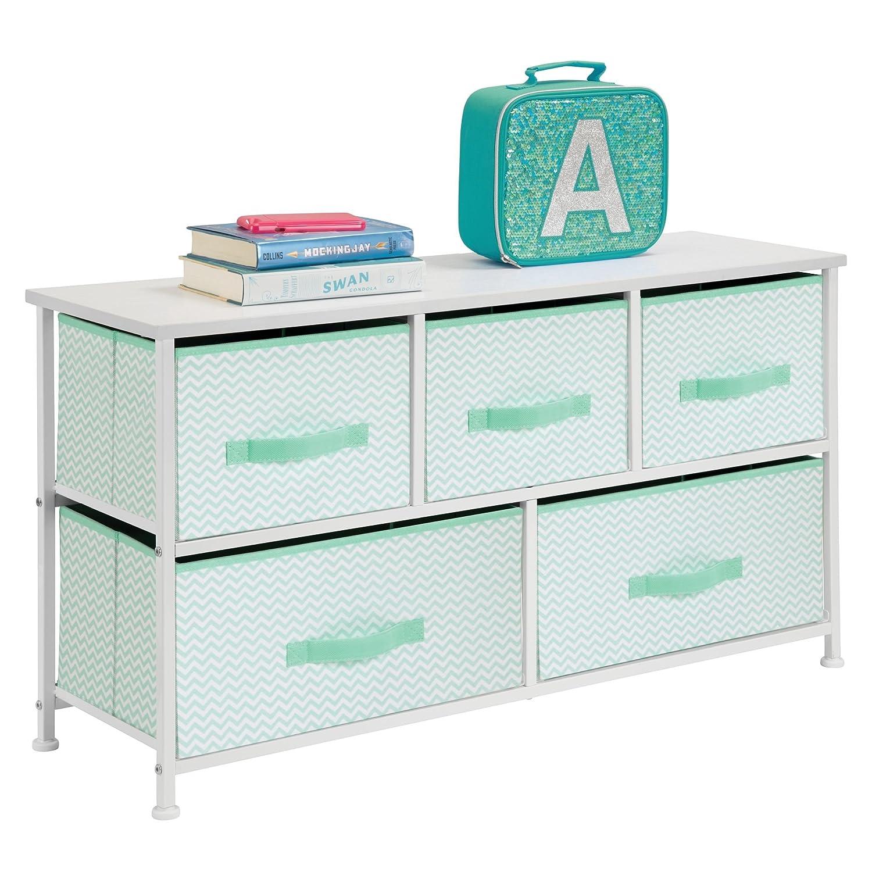 mDesign Comodino in tessuto – Pratico sistema di organizzazione con 5 cassetti – Ottima cassettiera per le camere da letto, appartamenti e stanze piccole – Verde menta/bianco MetroDecor