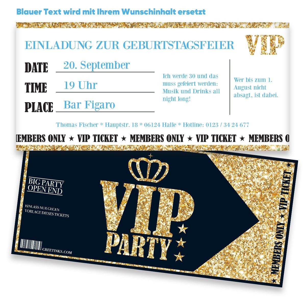 Einladungskarten zum Geburtstag für VIP | 50 Stück | Inkl. Druck ...