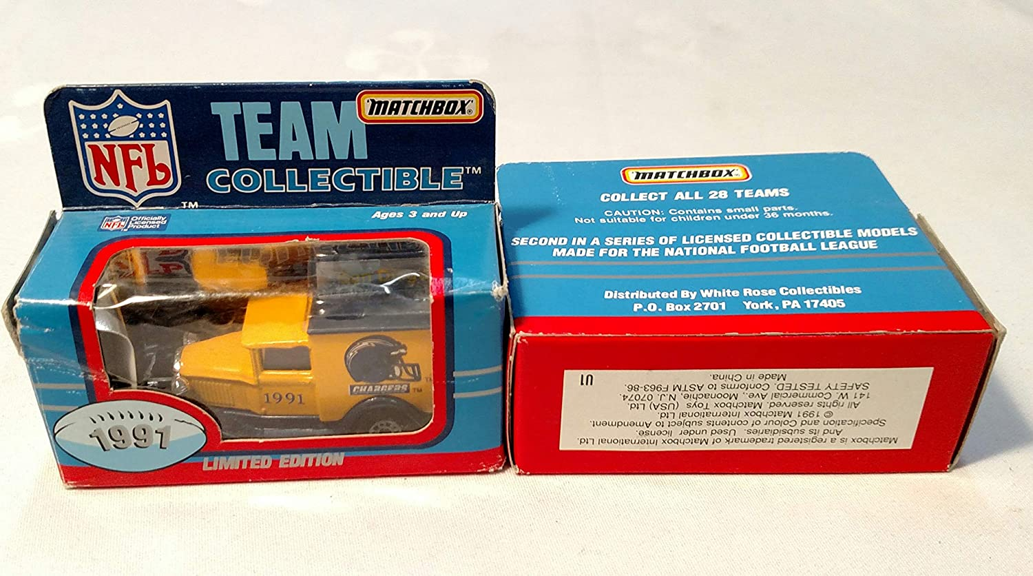 San Diego Chargers 1991 Limited Edition Matchbox Die Cast Collectible