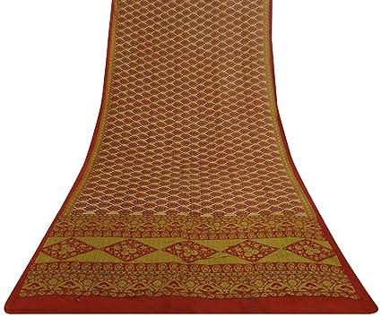Vintage India Tradicional Ropa De Segunda Mano Beige Impreso Floral De Seda Pura Pareo Étnico Sari