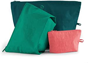 BAGGU Go Pouch Set, Expandable Nylon Zip Pouch 3 Pack for Travel and Organization, Watermelon Slice
