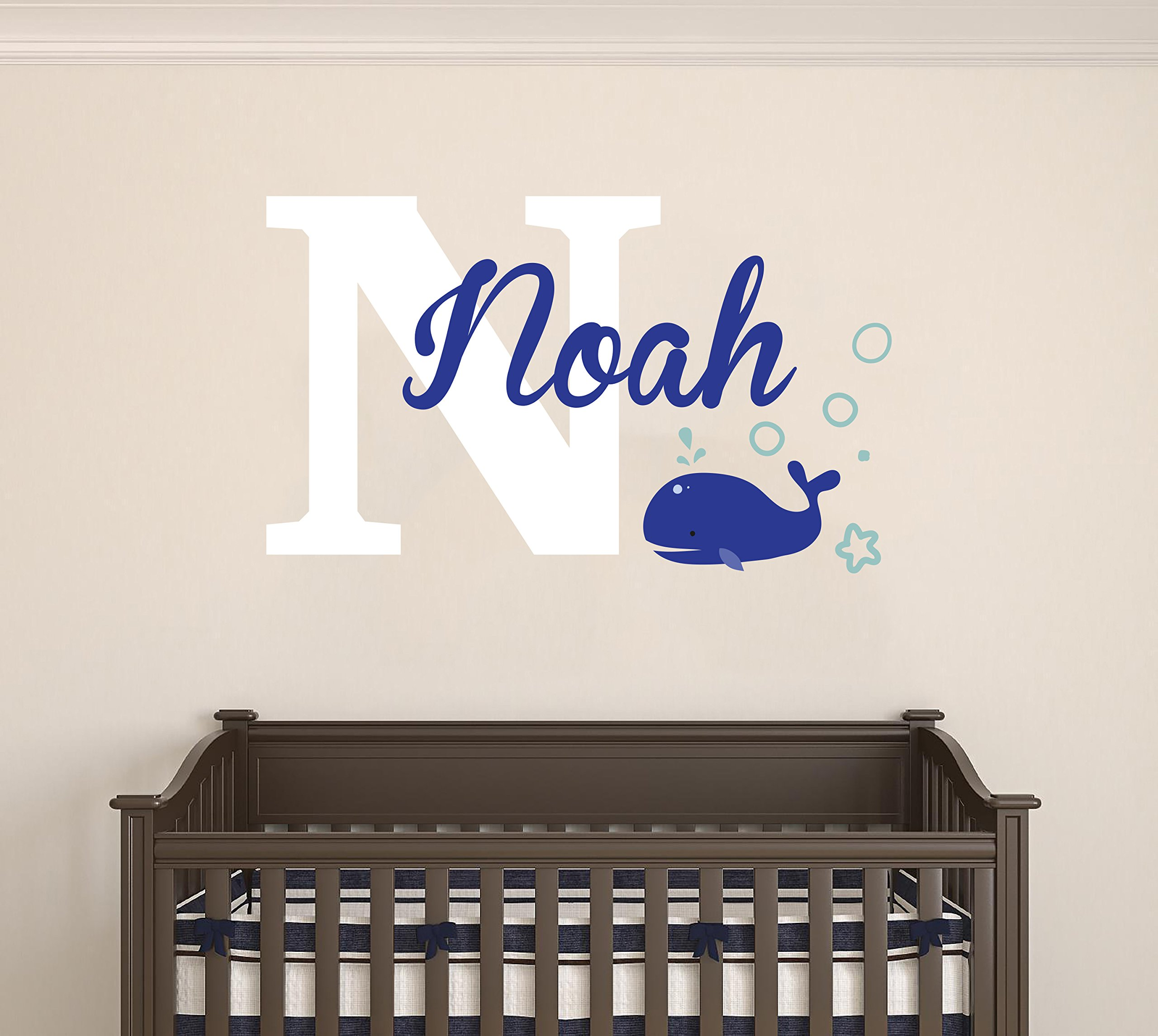 Personalized name baby whale - Boys and Girls wall decal - Customs name - Wall Decal for Nursery Decoration (Wide 20''x12'' Height Inches)